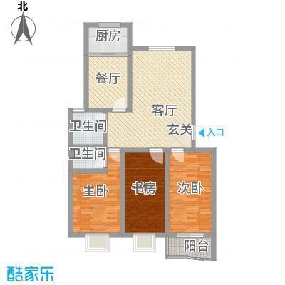 南国风光115.00㎡标准层C户型3室2厅1卫1厨