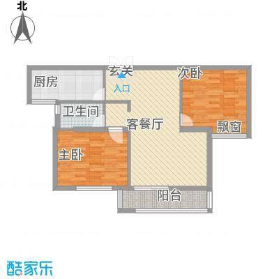 东方城1.68㎡标准层C2-2户型2室2厅1卫1厨