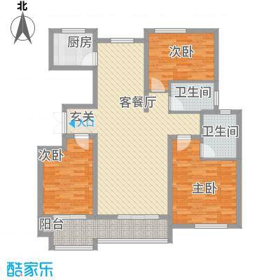东方城135.74㎡标准层B9户型3室2厅2卫1厨
