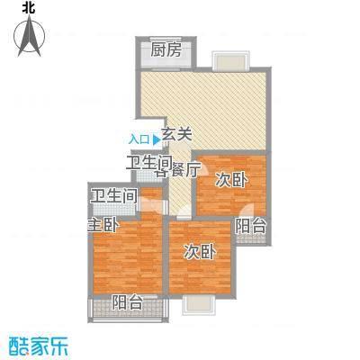 万聚鑫盛苑122.20㎡一期标准层H户型3室2厅2卫1厨