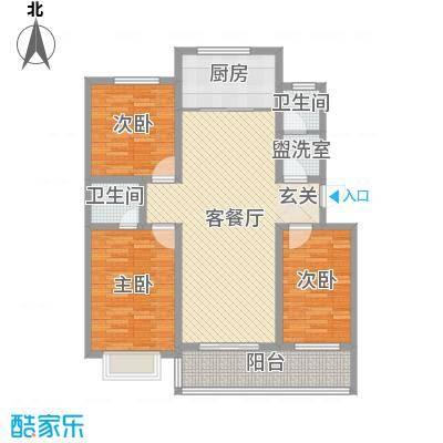 裕昌・水岸新城135.00㎡四期标准层户型3室2厅1卫1厨