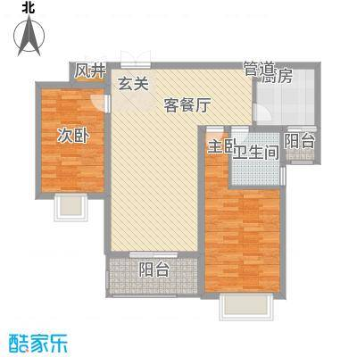 宜家花园1.57㎡D户型2室2厅1卫1厨