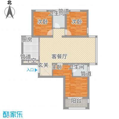 城市西景111.00㎡一期标准层B户型3室2厅2卫1厨