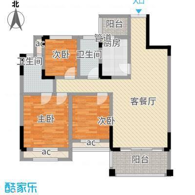 锦绣新天地13.10㎡3#4#D3户型3室2厅2卫