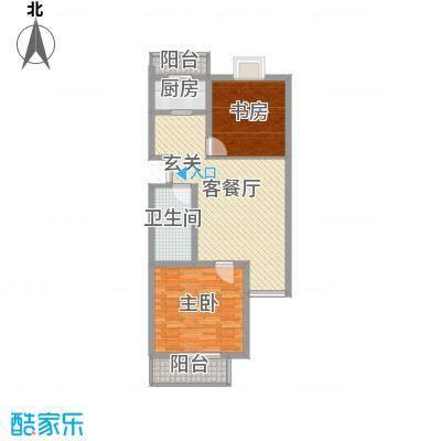 御景苑6#户型2室2厅1卫1厨