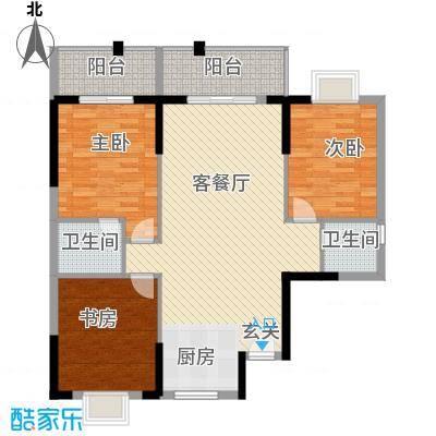 桂林日报社小区滨江国际117.80㎡11栋D户型3室2厅2卫1厨
