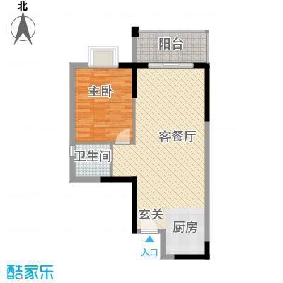 桂林日报社小区滨江国际68.30㎡11栋E户型1室2厅1卫1厨
