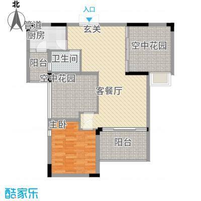 恒瑞蓝湾印象3.00㎡A#、B#、C#、D#、E#F1户型1室2厅1卫1厨