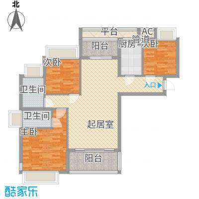 东方红广场11.00㎡C1户型3室1厅2卫1厨