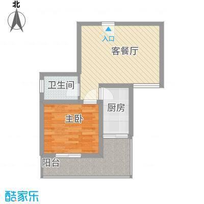 漓水书香52.00㎡15#4户型1室1厅1卫1厨