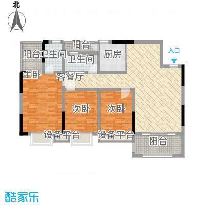 中糖大城小院116.30㎡一期2栋1单元03/2单元02户型3室2厅2卫1厨