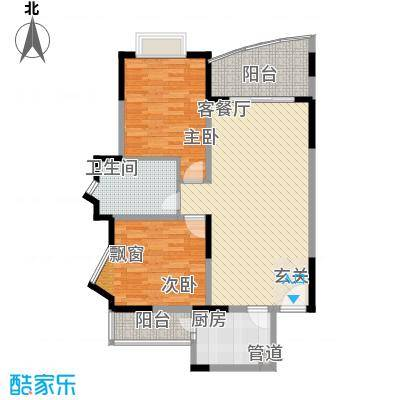 富景海派公馆11.60㎡二期海派擎城E型户型2室2厅1卫1厨