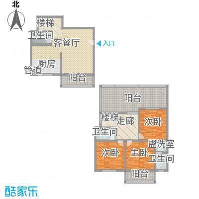 古镇庭苑152.10㎡E复式户型3室2厅3卫1厨