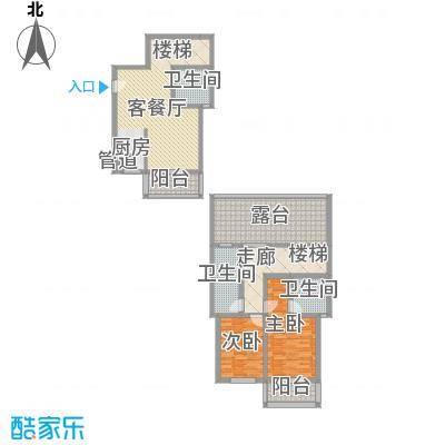 古镇庭苑121.20㎡B复式户型2室2厅3卫1厨