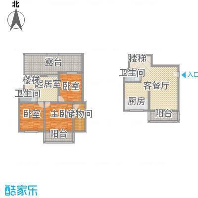 古镇庭苑13.30㎡C复式户型3室2厅3卫1厨