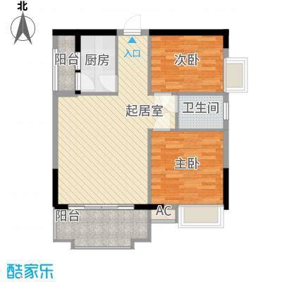 一江名城78.00㎡3#-04户型2室2厅2卫1厨