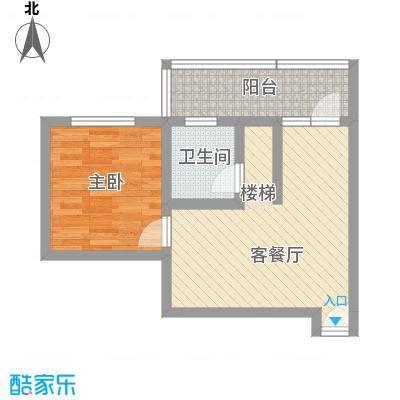 古镇庭苑47.60㎡C-1户型1室1厅1卫1厨