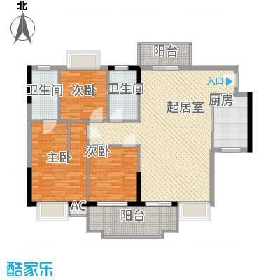 一江名城11.52㎡3#-01户型3室2厅2卫1厨