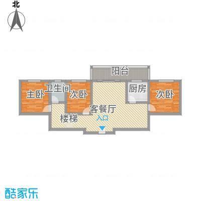 古镇庭苑5.40㎡D-1户型3室2厅1卫1厨