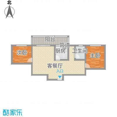 古镇庭苑81.40㎡B-1户型2室2厅1卫1厨