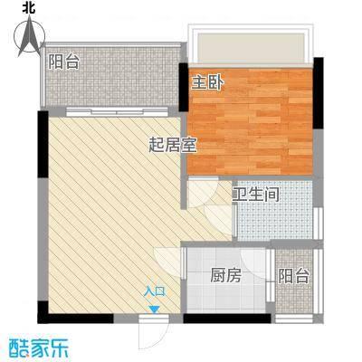 一江名城51.21㎡3#-02户型1室2厅1卫1厨