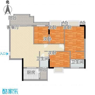 一江名城147.30㎡1#、2#-02户型4室2厅2卫1厨