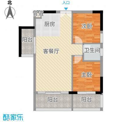人民大厦78.38㎡2栋F1户型2室2厅1卫1厨