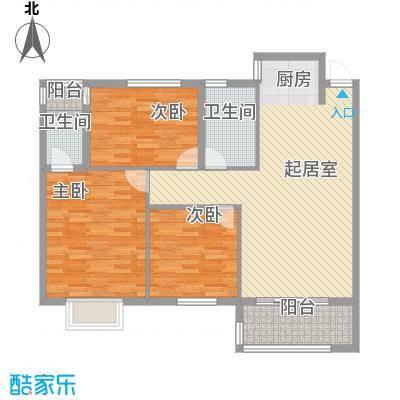 金星阳光格林1.11㎡2栋4号D户型3室2厅2卫1厨