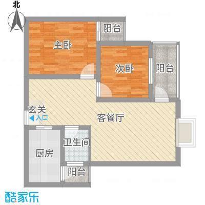 八里街1号81.87㎡4#B5-B6户型2室2厅1卫1厨