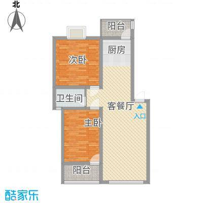 开元漓江上城84.50㎡C户型2室2厅2卫1厨