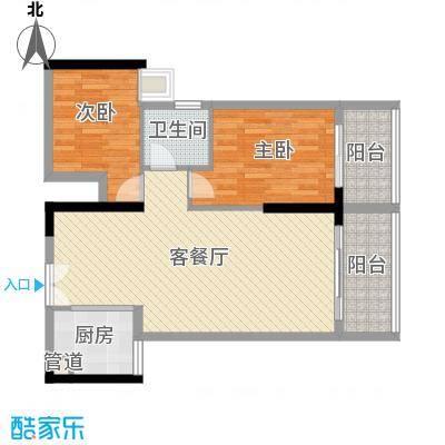 人民大厦88.55㎡2栋F7户型2室2厅1卫1厨