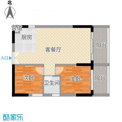 人民大厦76.80㎡2栋F6户型2室2厅1卫1厨