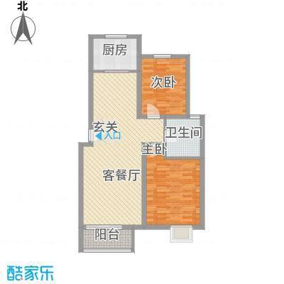 书香苑小区C2户型2室1厅1卫1厨