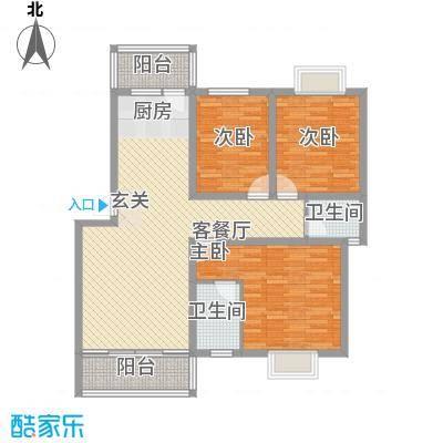 顺福国际花城11.00㎡蓝珍珠D户型3室2厅2卫1厨