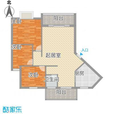 金星阳光格林18.54㎡2栋1号A户型3室2厅1卫1厨