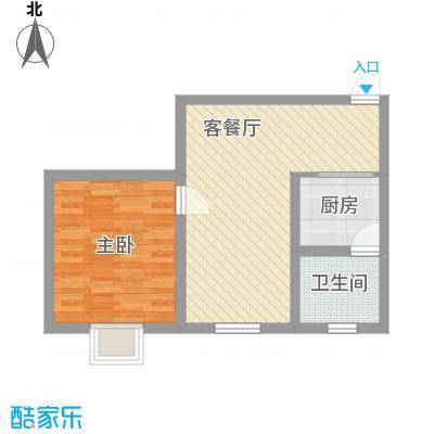 开元漓江上城53.50㎡F户型1室2厅1卫1厨