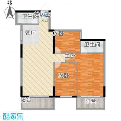 桂林独秀苑117.88㎡12栋C2户型3室2厅2卫1厨