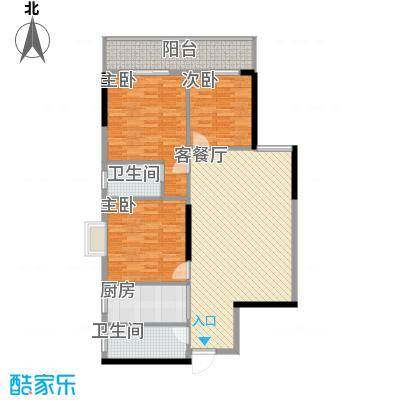 桂林独秀苑115.38㎡12栋E户型3室2厅2卫1厨