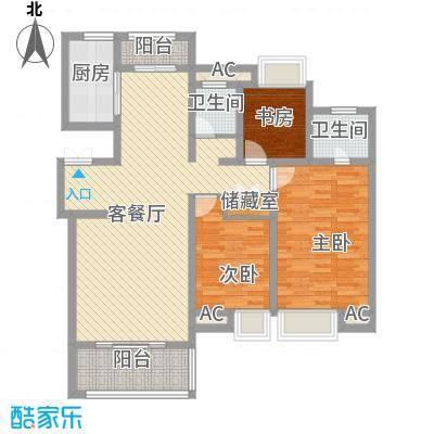 商城凤凰印象133.41㎡小高层G户型3室2厅2卫1厨