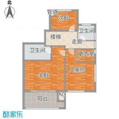 商城凤凰印象128.00㎡一期2#楼D-2复式二层户型4室2厅3卫1厨