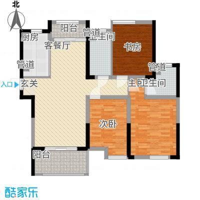 济民可信艾溪康桥112.50㎡一期高层2#B1户型3室2厅2卫1厨