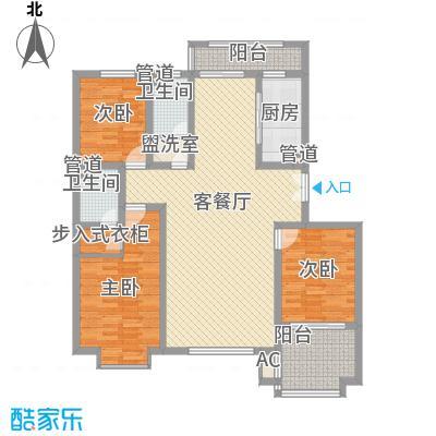 枫丹白露153.00㎡23#B户型3室2厅2卫1厨