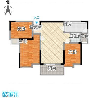 济民可信艾溪康桥111.14㎡一期高层7#B3户型3室2厅2卫1厨