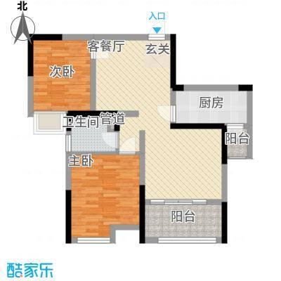济民可信艾溪康桥84.66㎡一期高层3#D1户型2室2厅1卫1厨