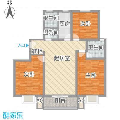 枫景华庭128.00㎡一号楼B户型3室2厅2卫1厨
