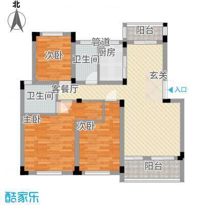 星海豪庭114.00㎡一期高层N3户型3室2厅2卫