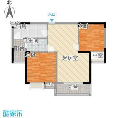 中航城・果岭东方88.00㎡F2户型2室2厅1卫1厨
