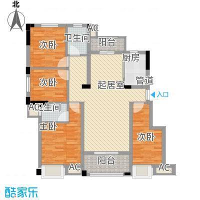 东方香颂116.26㎡项目一期D1户型3室2厅2卫1厨