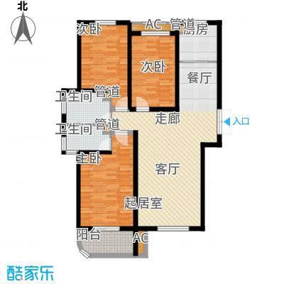 恒嘉・拉德芳斯本世家134.52㎡34号楼F户型3室2厅1卫1厨