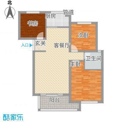 东方城14.84㎡标准层C2-3户型3室2厅1卫1厨